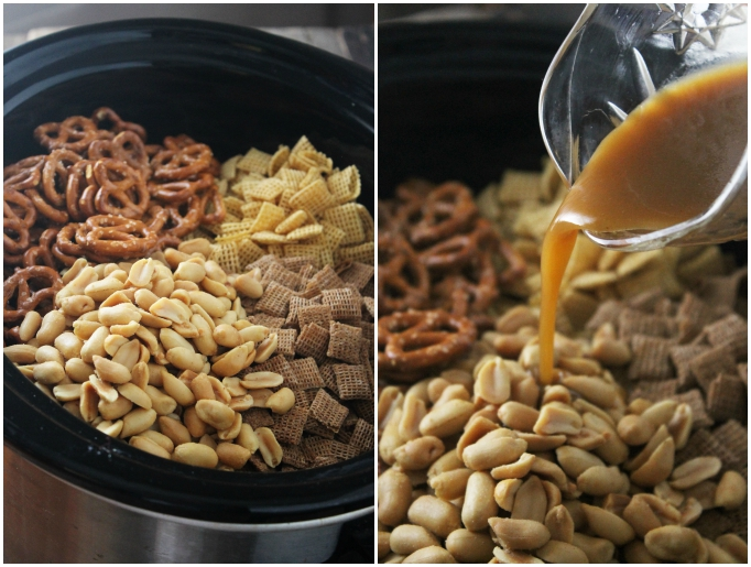 This slow cooker chex mix is super to make and is perfect for parties! Made with all-natural ingredients, this delicious snack is healthy and delicious.