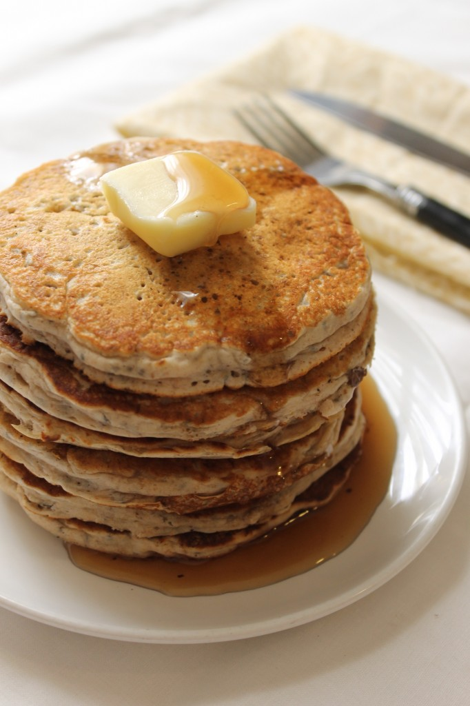 Whole Wheat Vegan Chia Seed Pancakes | Natural Chow | http://naturalchow.com