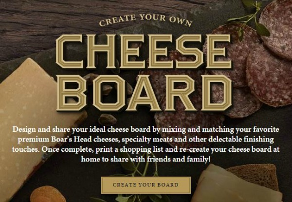 Boar's Head Cheese Board Creator