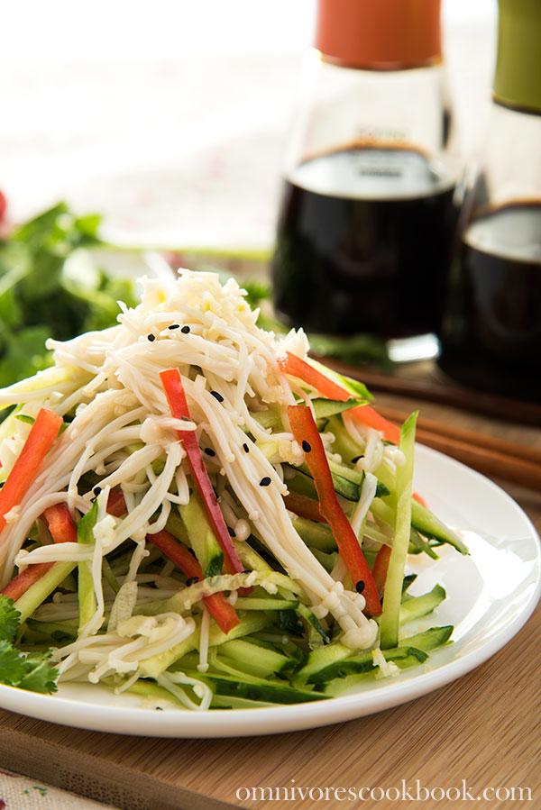 Golden Needle Mushroom Salad | Omnivore's Kitchen