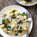 One-Pan Jalapeño Kale & Roasted Garlic Egg Scramble