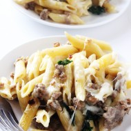 Spicy Sausage and Kale Baked Ziti