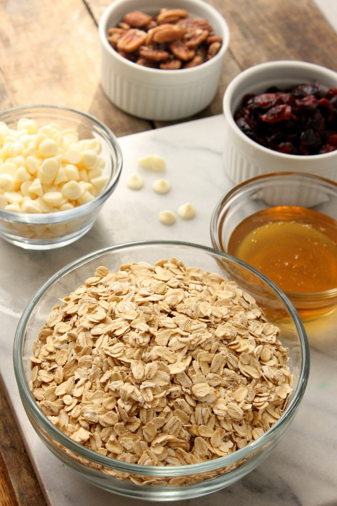 Sweet white chocolate chips and tangy dried cranberries make every bite of this White Chocolate Cranberry Pecan Granola Cereal an explosion of flavor.