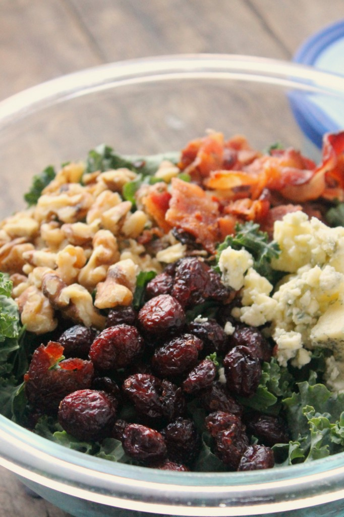 Made with just a few simple ingredients and drizzled with vinaigrette dressing, this Blue Cheese Bacon Kale Salad is full of delicious Greek flavors!